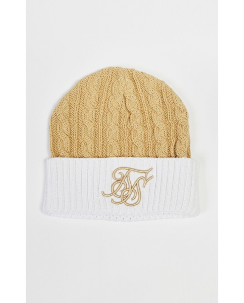 Sik Silk Contrast Cable Knit Beanie