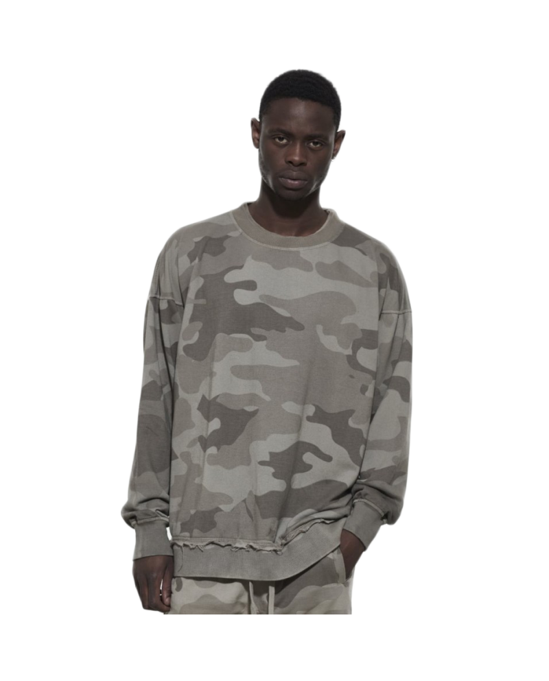 OtherUK Raw Hem Sweatshirt Stone Camo