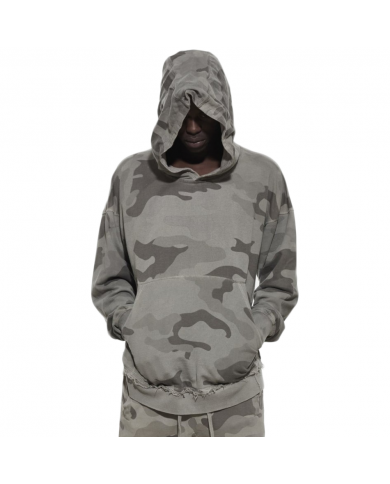 OtherUK Raw Edge Hoodie Stone Camo