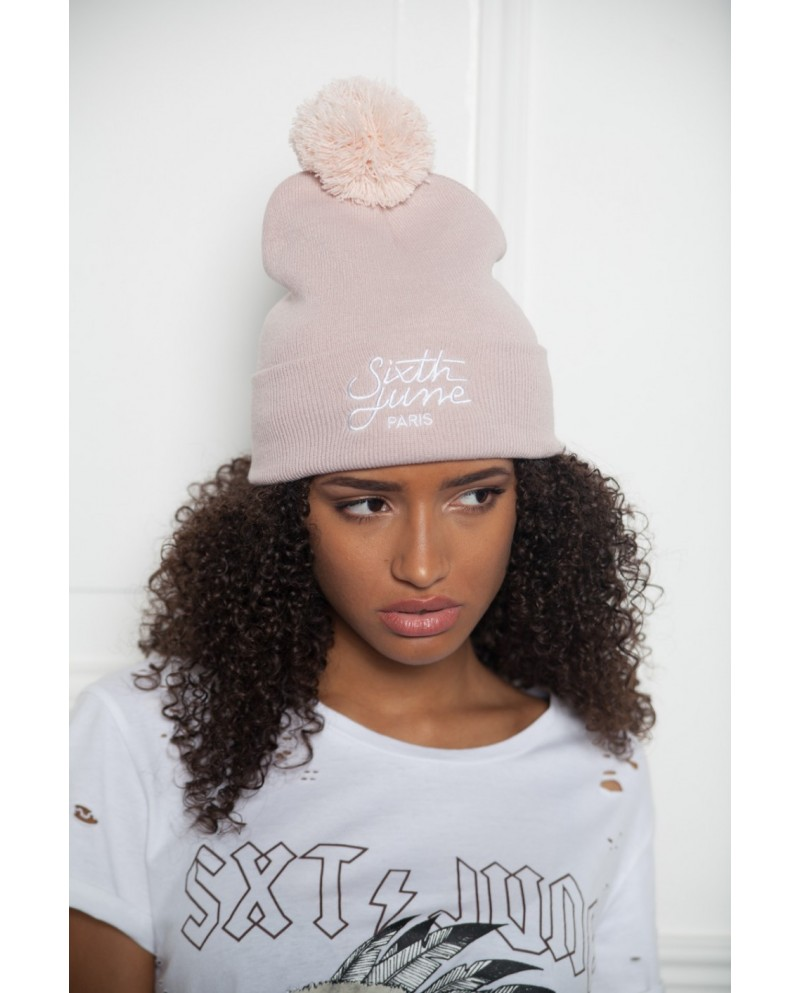 Sixth June Beanie Bobble Logo Pink