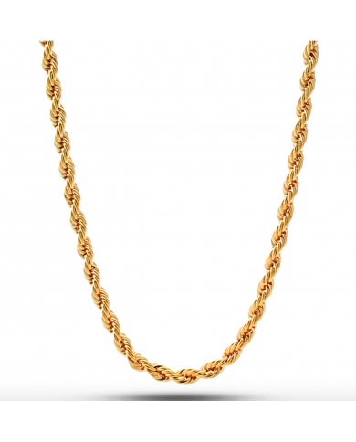 King Ice 18K Gold 4mm Dookie Rope Chain