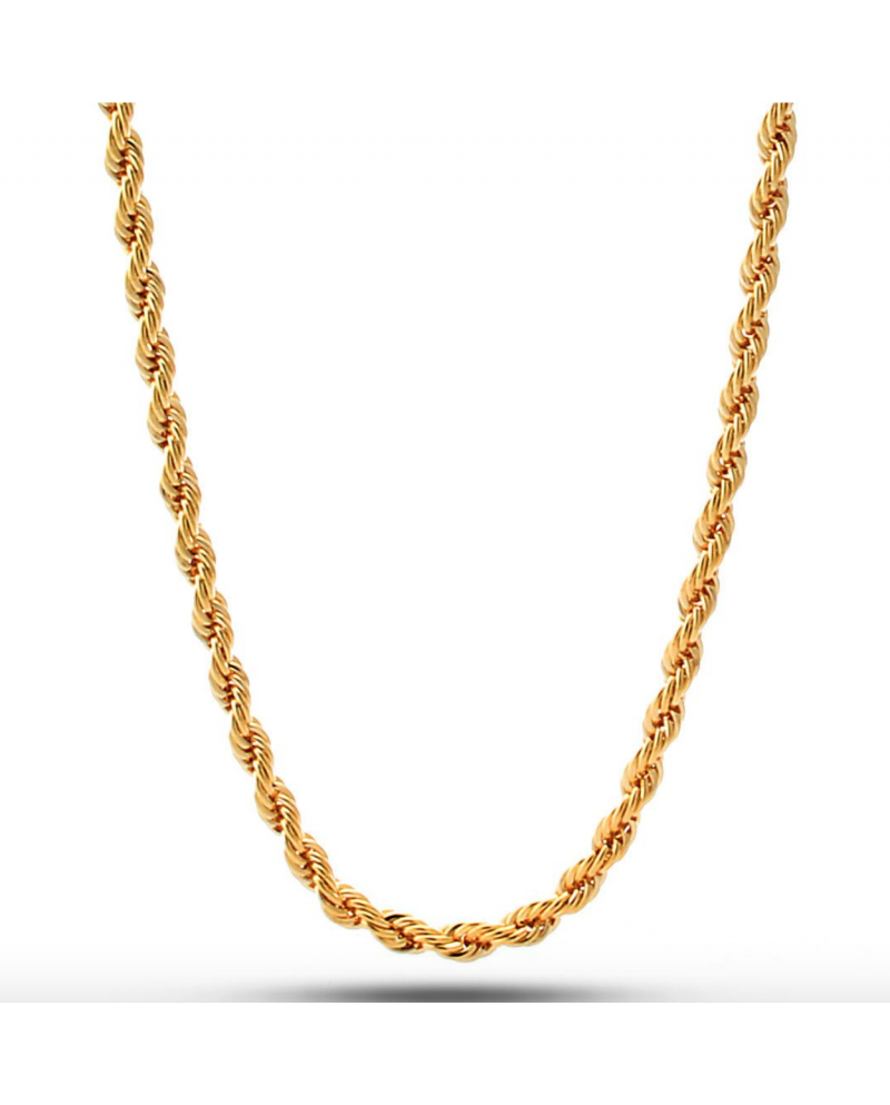 King Ice 18K 4mm Dookie Rope Chain