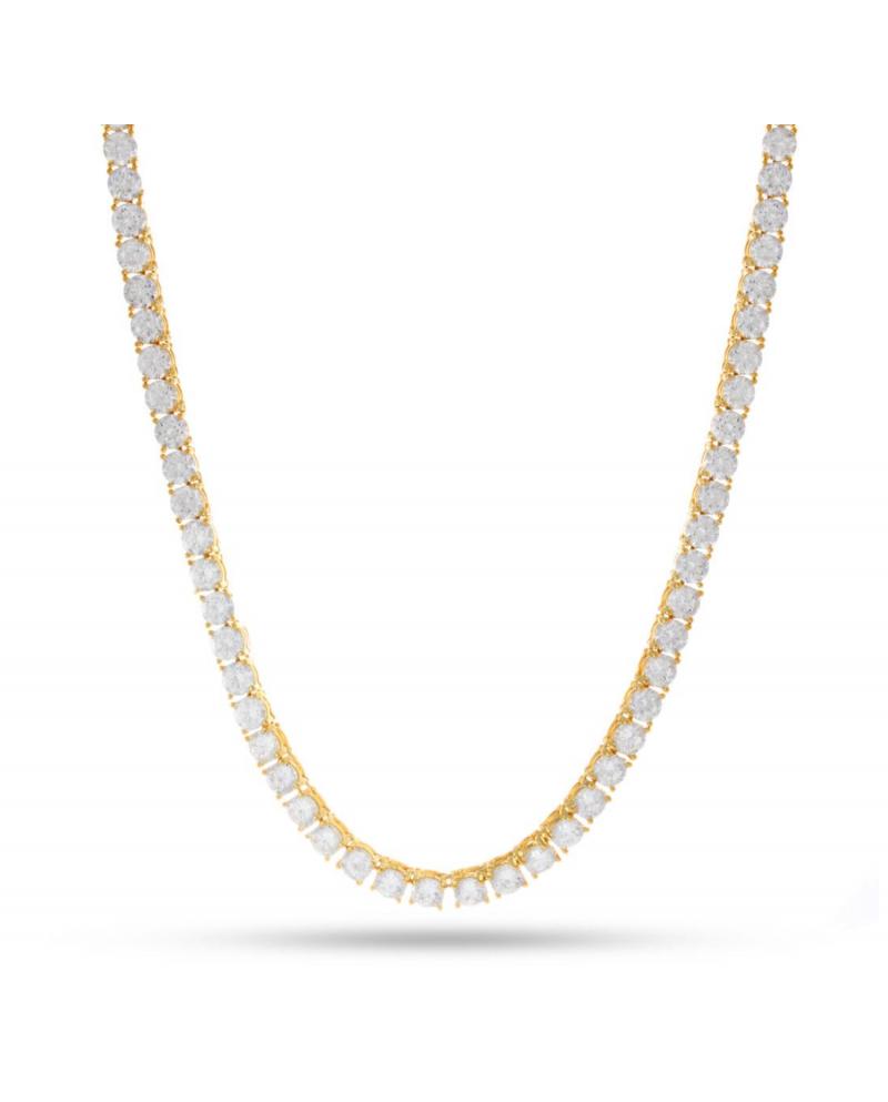 King Ice 14K 4MM Single Row CZ Pharaoh Necklace