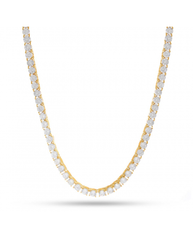 King Ice 14K Gold 5mm Single Row CZ Pharaoh Necklace