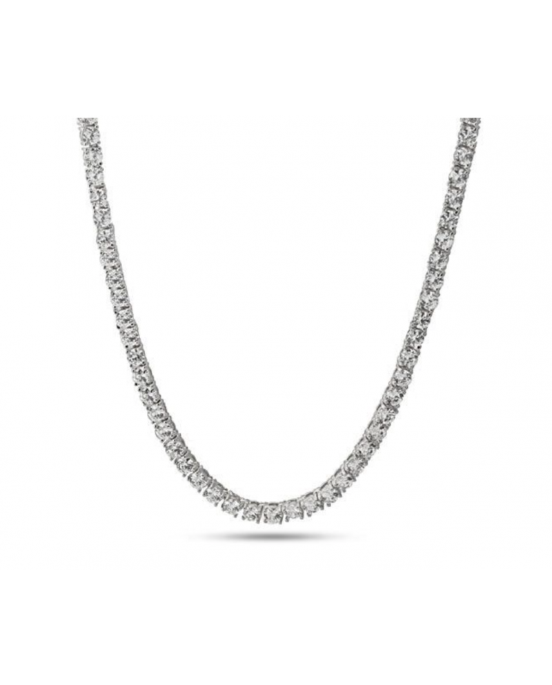King Ice 14K 4mm Single Row CZ Pharaoh Necklace