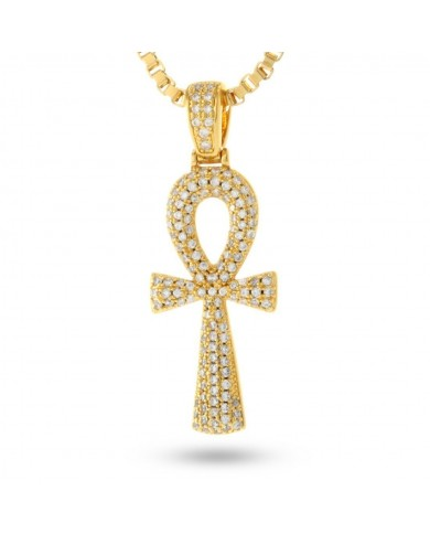 King Ice 14K Gold Dual Ankh Cross Necklace