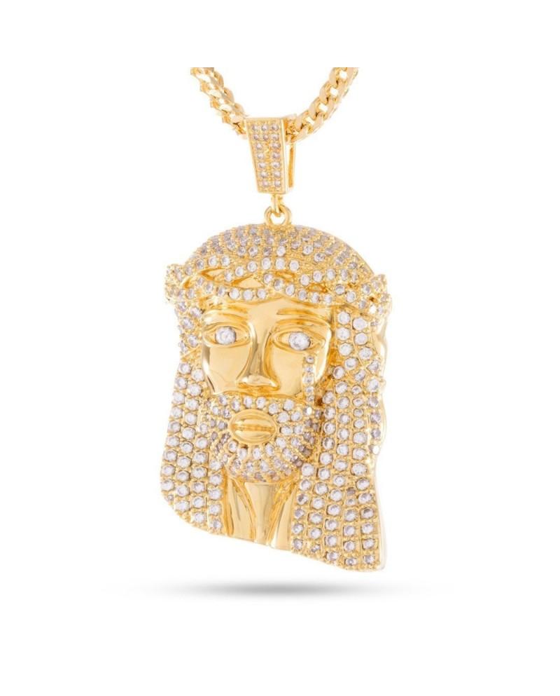 King Ice 14K CZ Jesus Piece Necklace