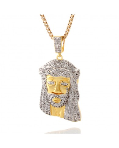 King Ice 14K Gold CZ Teardrop Jesus Piece Necklace