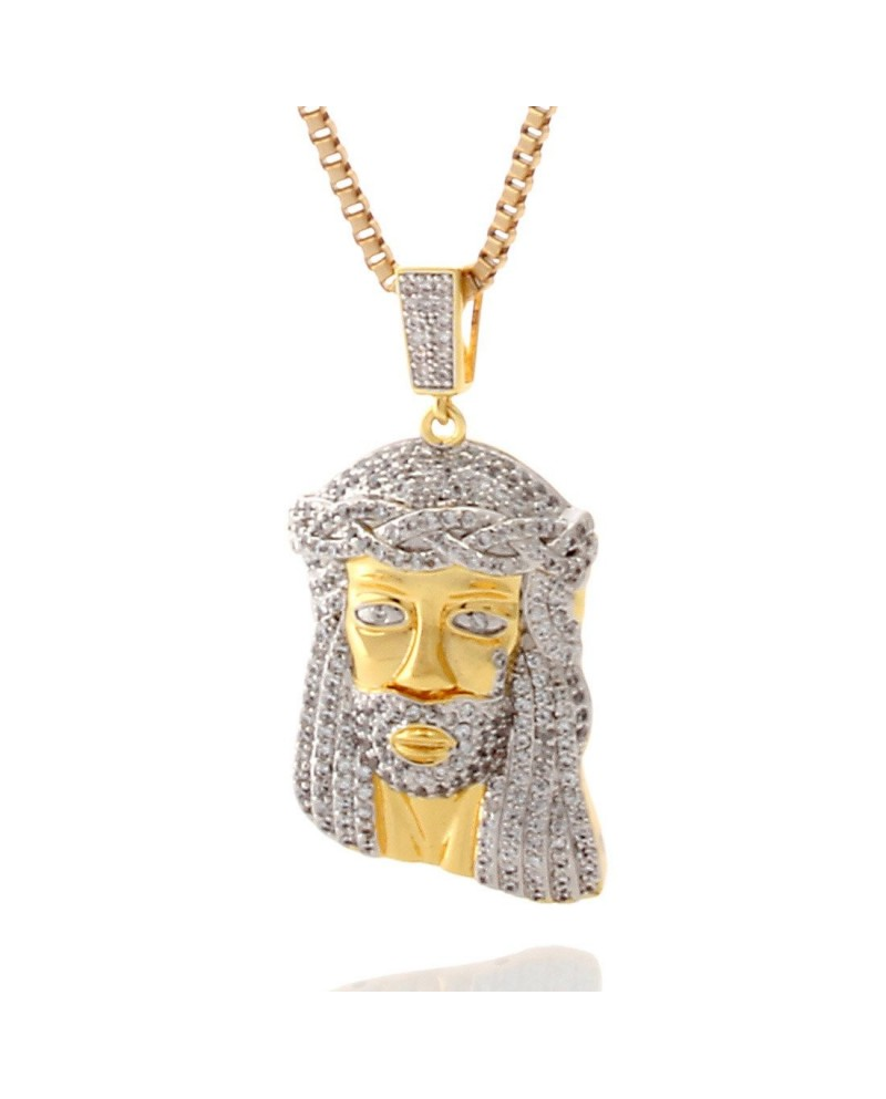 King Ice 14K CZ Teardrop Jesus Piece Necklace