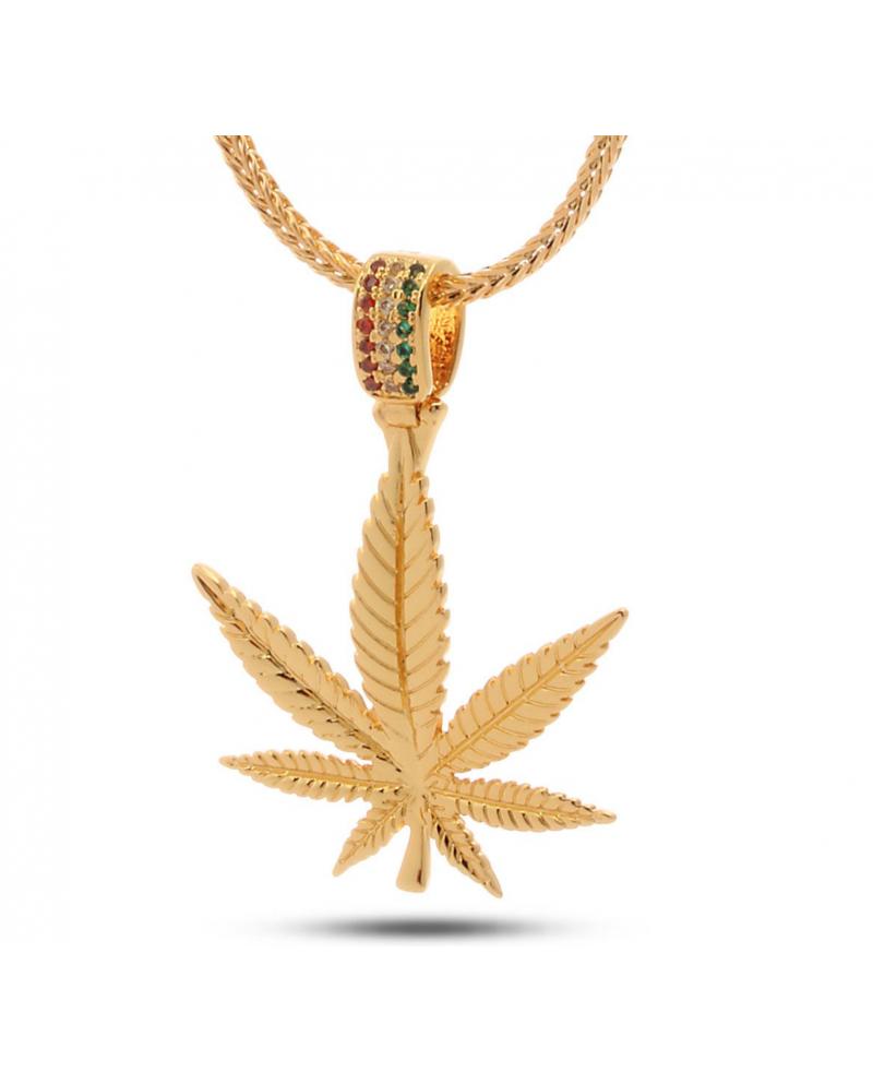 King Ice 14K SNOOP DOGG JUN GL JULZ Weed Leaf Cannabis Pot Necklace