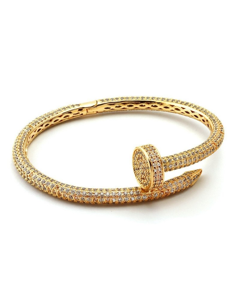 King Ice 14K CZ Studded Nail Bracelet