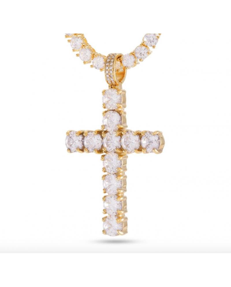 King Ice 925 Silver Cross Pendant Tennis Single Row Necklace Set