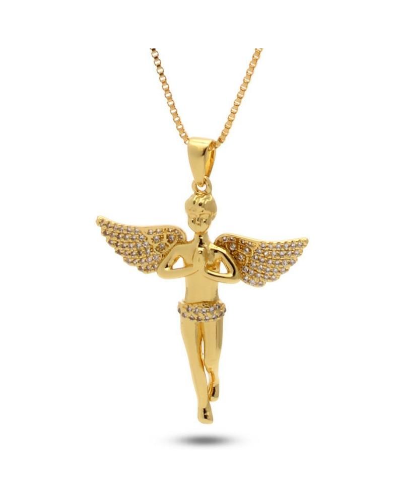 King Ice 14K Gold Mini Praying Angel Necklace