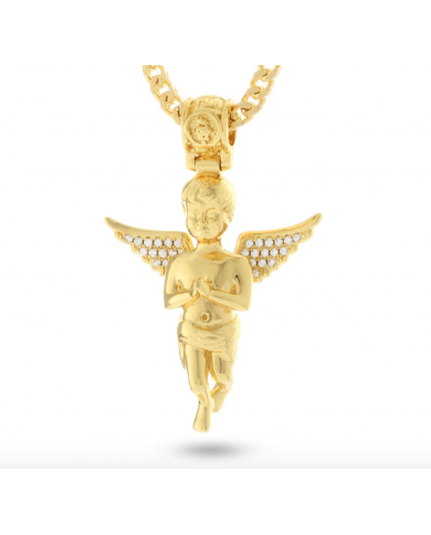 King Ice 14K Gold Serenity Angel Necklace