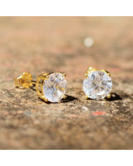King Ice Gold Black Round Brilliant Sterling Silver CZ Stud Earrings