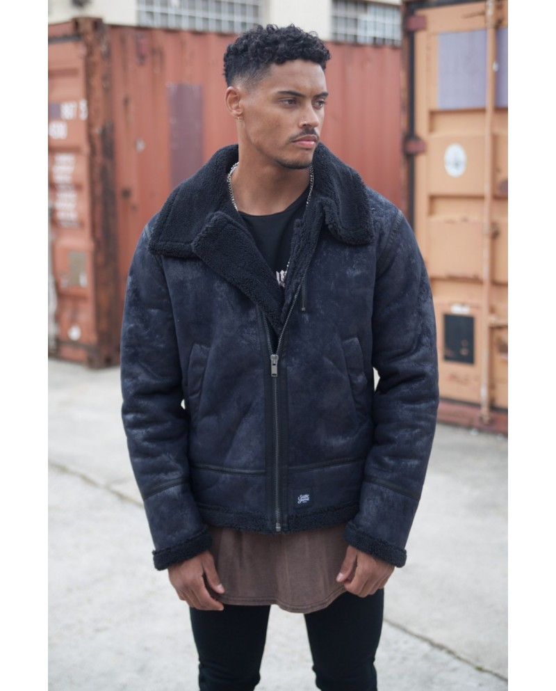 Sixth June Shearling Aviator Jacket Black
