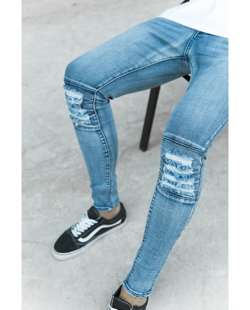 Sixth June Biker Destroyed Knees Jeans