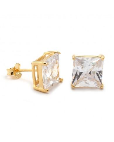 King Ice Princess Cut 925 Sterling Silver CZ Stud Earrings