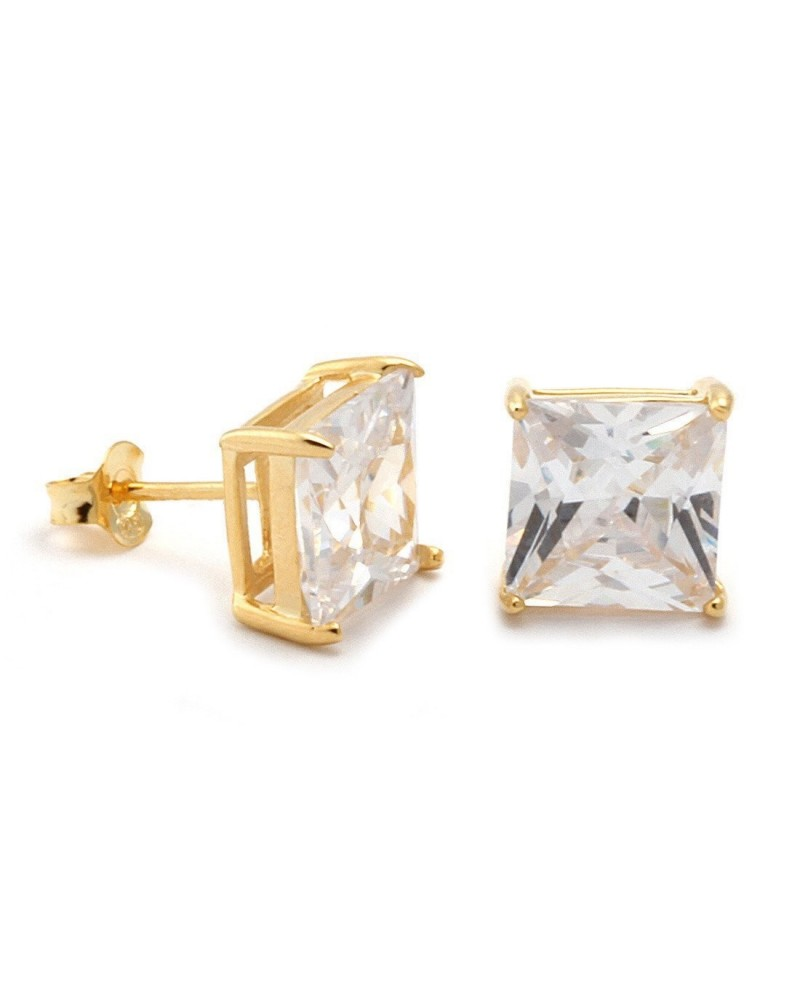 King Ice Princess Cut 925 Sterling Silver CZ Stud Earrings