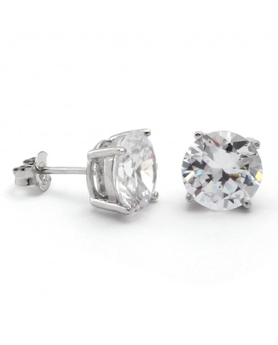 King Ice 925 Sterling Silver Round CZ Stud Earrings