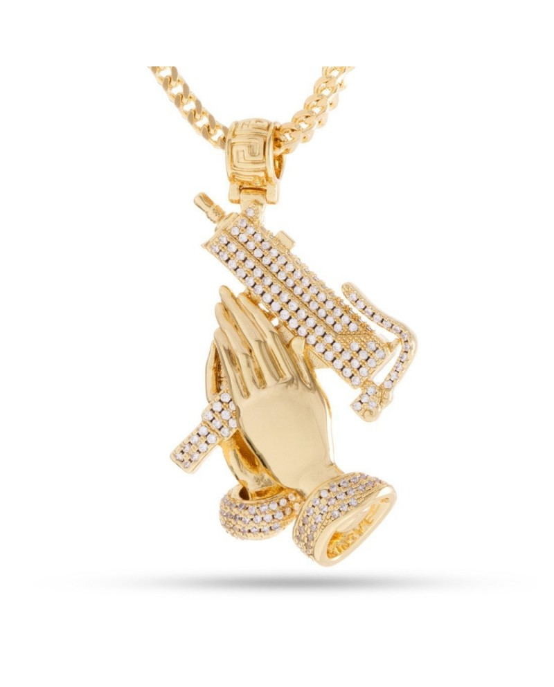 King Ice The Praying Hands of Defense Necklace