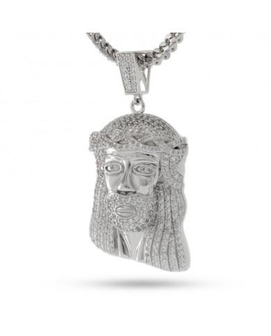 King Ice White Gold CZ Jesus Piece Necklace