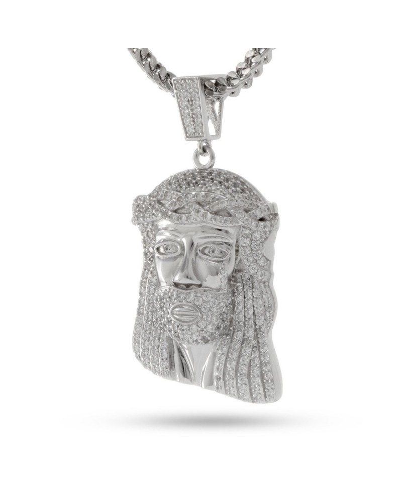 King Ice White Gold CZ Jesus Piece Necklace