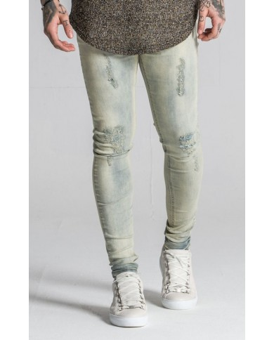 Gianni Kavanagh Worn Out Light Green Wash Jeans