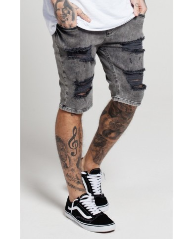 Sik Silk Distressed Denim Shorts Snow Black