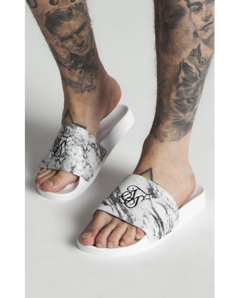 Sik Silk Roma Slides - White Marble