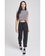 Sik Silk Retro Stripe Crop Vest