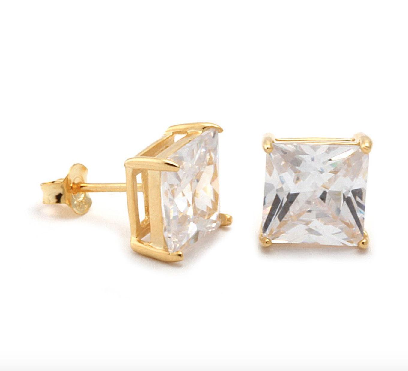 King Ice 4mm Princess Cut 925 Sterling Silver Cz Stud Earrings Luxuryoutletonline