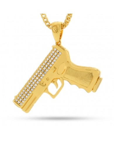 King Ice 9mm CZ Handgun Necklace
