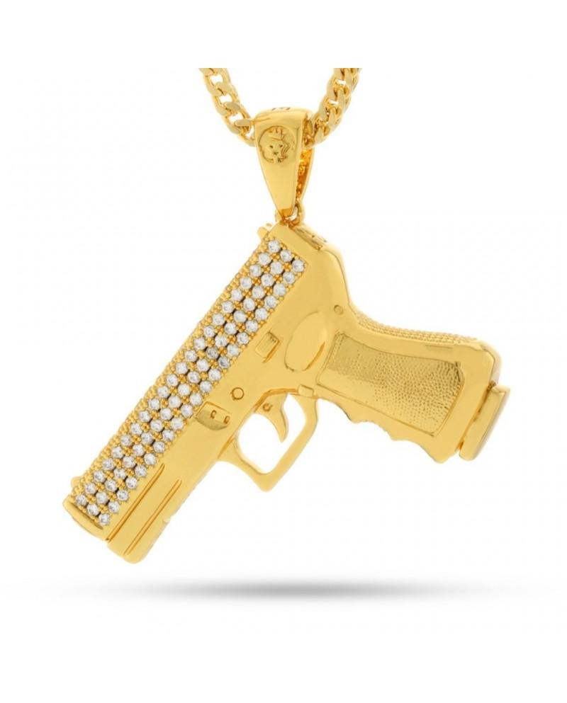 King Ice 9mm CZ Handgun Necklace