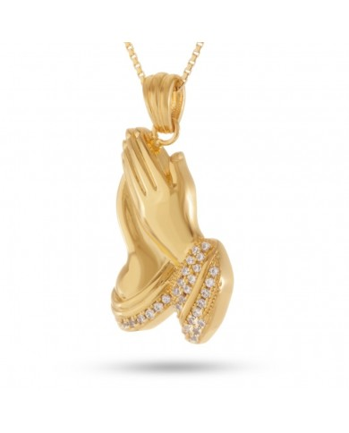 King Ice Praying Hands CZ Necklace