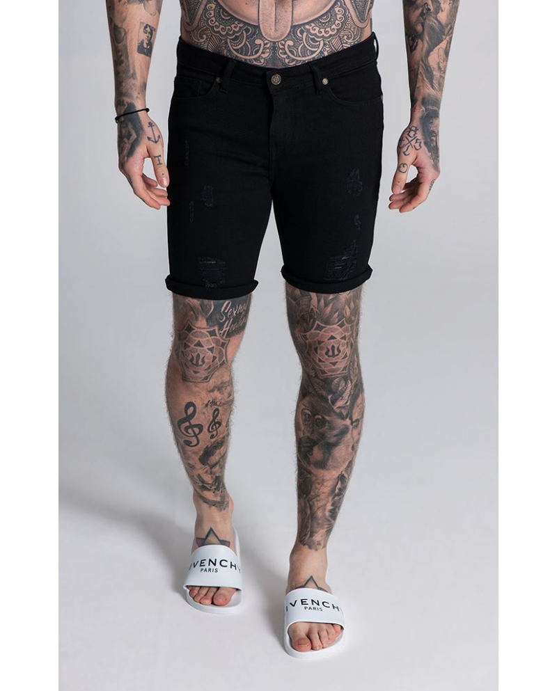 Gianni Kavanagh Ripped And Repair Denim Shorts