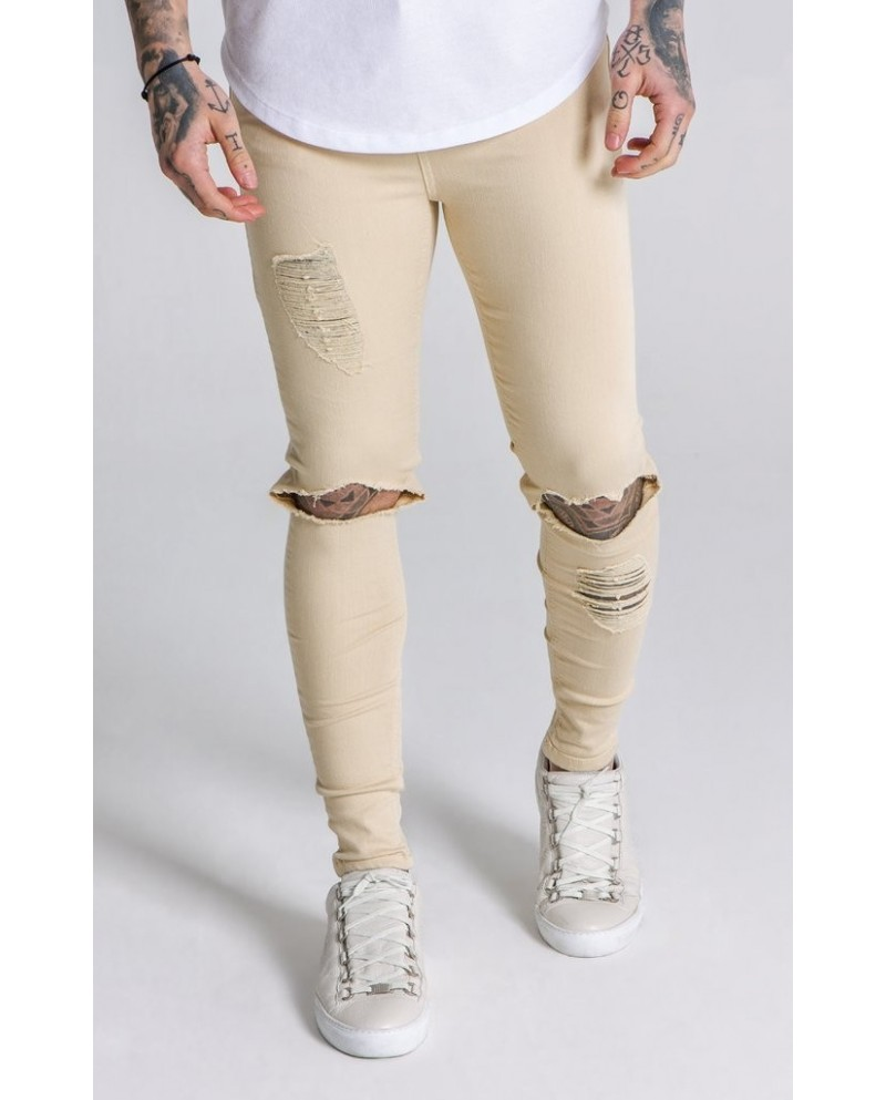 Gianni Kavanagh Beige Distressed Jeans