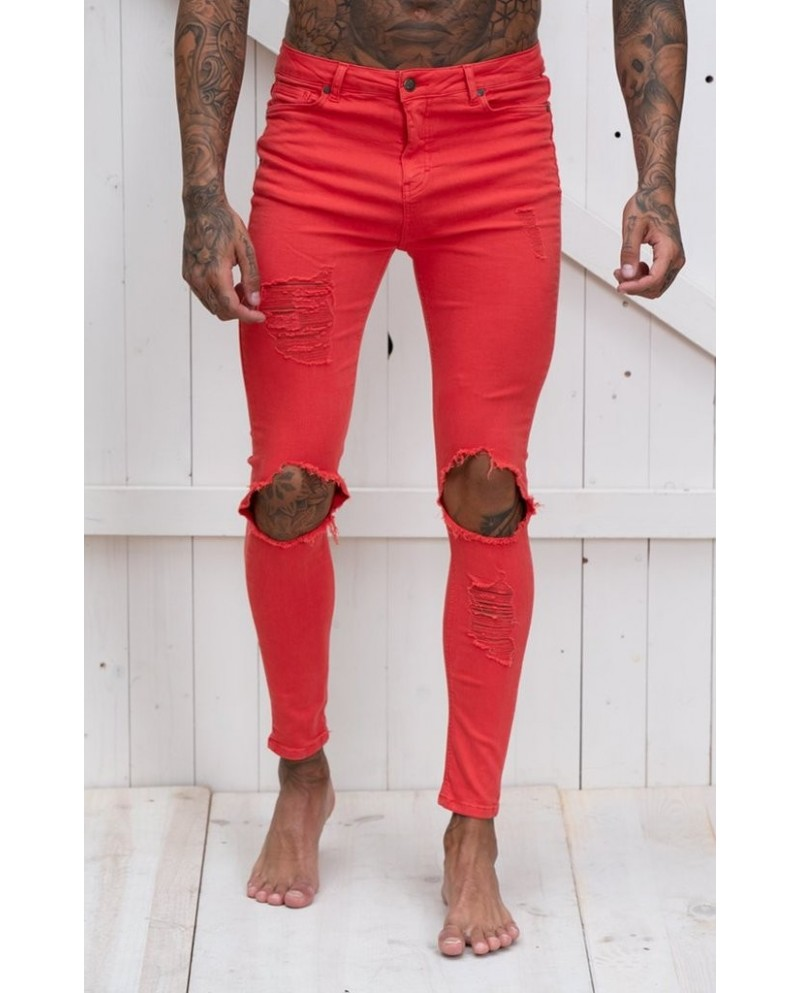 Gianni Kavanagh Red Distressed Jeans