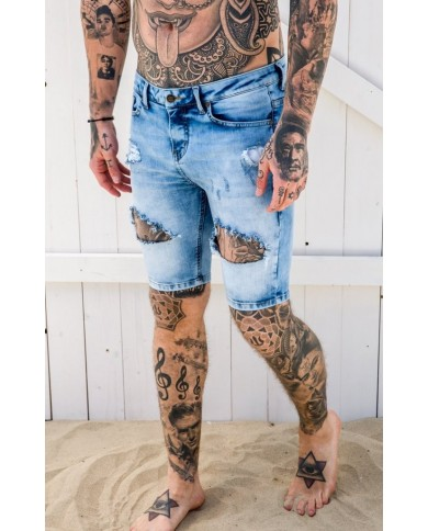 Gianni Kavanagh Light Blue Destroyed Denim Shorts