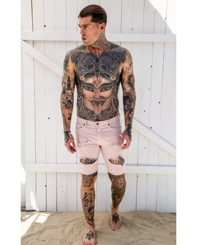 Gianni Kavanagh Light Pink Destroyed Denim Shorts