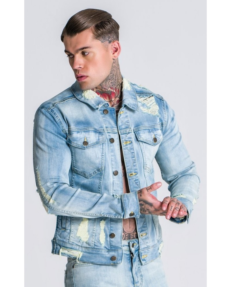 Gianni Kavanagh Light Yellow And Blue Washed Destroyed Denim Jacket