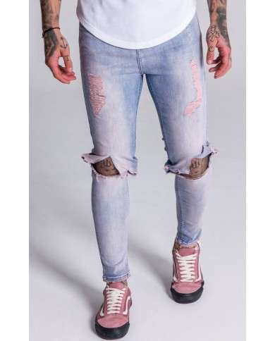 Gianni Kavanagh Light Pink And Blue Washed Distressed Denim Jeans