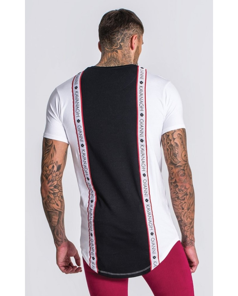 Gianni Kavanagh White Tee With Back Black Pannel