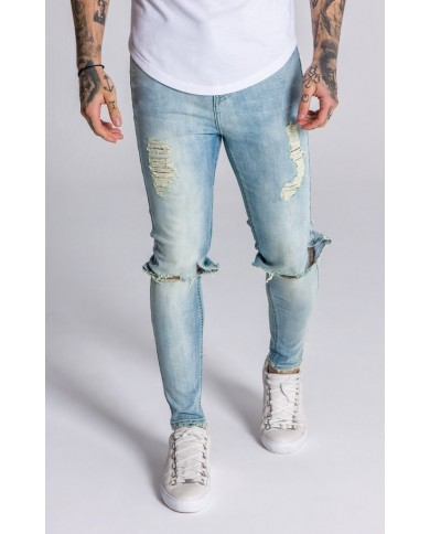 Gianni Kavanagh Light Yellow And Blue Washed Distressed Denim Jeans