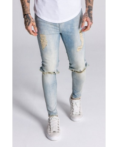 Gianni Kavanagh Beige And Blue Washed Distressed Denim Jeans