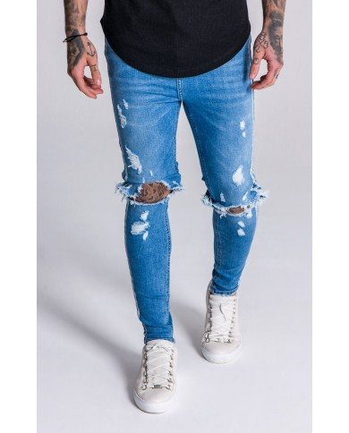 Gianni Kavanagh Distressed Jeans With White Stripes