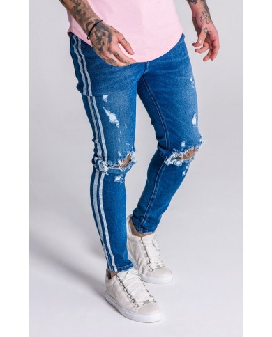 Gianni Kavanagh Blue Distressed Jeans With White Painted Stripes