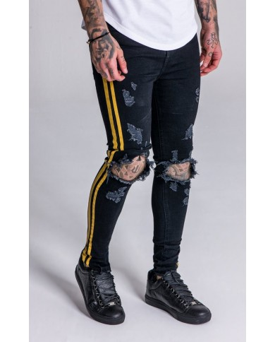 Gianni Kavanagh Black Distressed Jeans With Yellow Painted Stripes