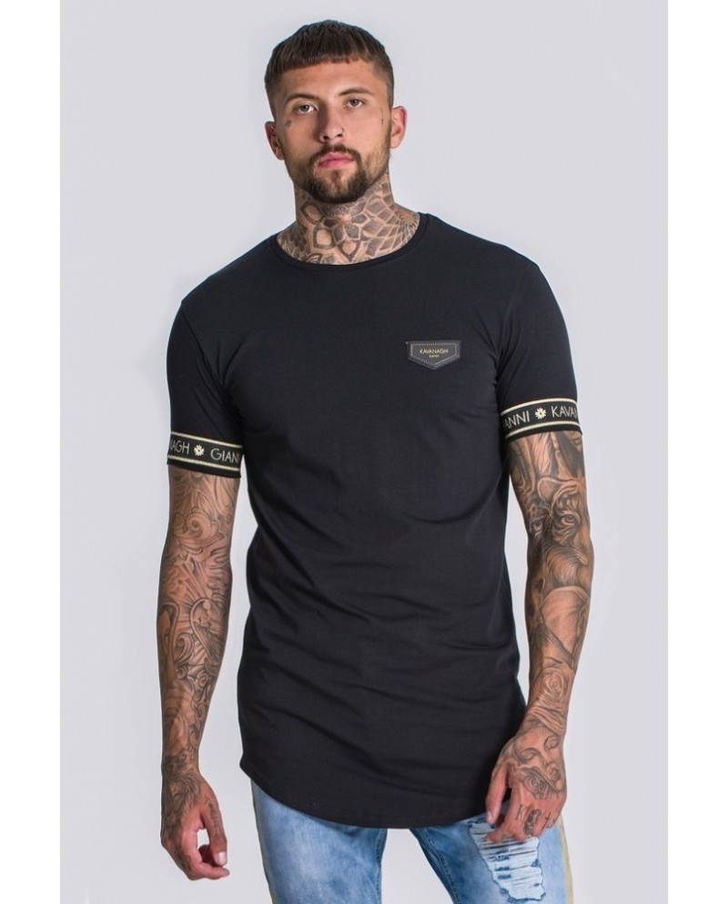 Gianni Kavanagh Black Tee With GK Lurex Elastic