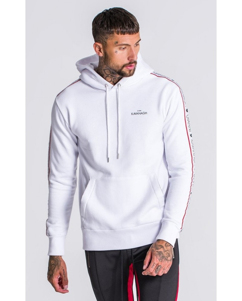 Gianni Kavanagh White Hoodie With Red GK Ribbon